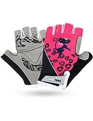 Unisex Half Finger–Guantes para bicicleta un circuito durchmachenhandschuh Half Ciclismo antideslizante stoßabsorbierendem Gel Pad Breath Guantes de ciclo, color rosa, tamaño L