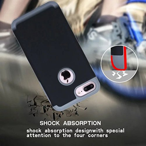 iPhone 7 Plus hüll,Lantier Slim Matt Matt Finish Design Shockproof 2 in 1 Combo Defender Schutz zurück hüll Deckung für Apple iPhone 7 Plus 5,5 Zoll Grau+Hellgrün Black+Grey