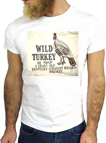 T SHIRT JODE Z3448 WILD TURKEY LOGO FUN NICE USA AMERICA WHISKEY GIN RUM VODKA GGG24 BIANCA - WHITE XL (Wild Turkey-shirt)