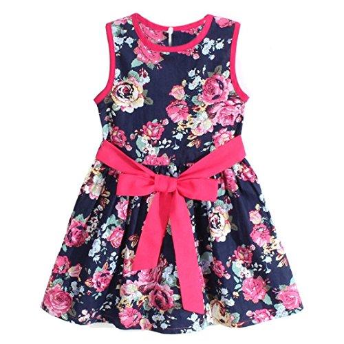 Jahr Baby-mädchen Alt 1 Kleider (Kleid Mädchen (1-7 Jahre alt) Kolylong 1PC Baby Mädchen mit Blumen Prinzessin Party Kleid (140 ( 6-7 Jahre ), Blau))