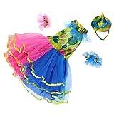 MagiDeal Kinder Mädchen Clown Kostüm Zirkuskostüm, Tütü Kleid Mini Hut und Armband für Halloween Cosplay Party, M/L/XL - XL
