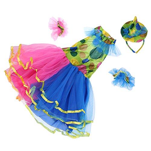 MagiDeal Kinder Mädchen Clown Kostüm Zirkuskostüm, Tütü Kleid Mini Hut und Armband für Halloween Cosplay Party, M/L/XL - XL (Kostüme Clown Mädchen)