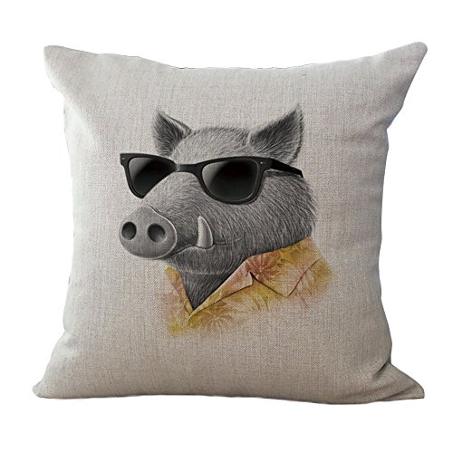 CHEZMAX Kissen, handgemaltes Tiermuster, Leinen, quadratisch, dekorativ, 45,7 x 45,7 cm, Cool Boar, Without Filler -
