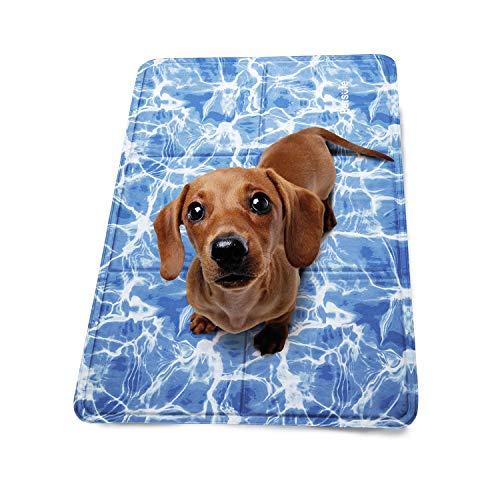 Bedsure Tappetino Refrigerante per Cani e Gatti Piccoli e Medio 50 x 40 cm - Cuscino Refrigerante per Animali con Rinfrescante Modello Oceano-Onda per L'Estate Calda