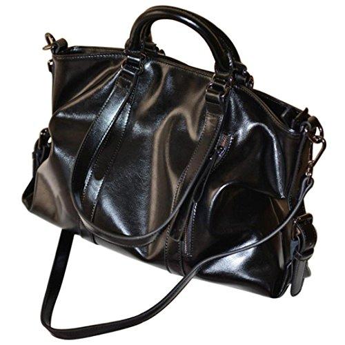Transer Women Shoulder Bag Popular Girls Hand Bag Ladies Genuine Leather Handbag, Borsa a spalla donna Blu 44cm(L)*33(H)*7cm(W) Black