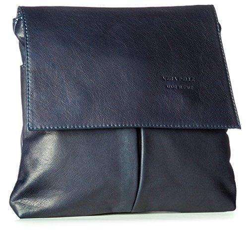 Big Handbag Shop Damen Medium Messengertasche, Umhängetasche, Schultertasche, Blau - navy - Größe: Medium (Schulter Medium Klappe)