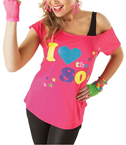Stars Fancy Kostüm Pop Dress - Deluxe I Love The 80's Damen T-Shirt Pop Star Pink Top-Kostüm Sexy Retro #klein