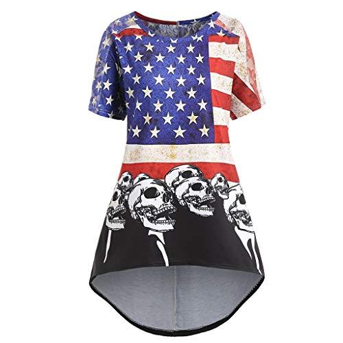 Cooljun Amerikanische Flagge T-shirts 4. Juli Damenmode Amerikanische Flagge Gedruckt Schädel T-Shirt Kurzarm Bluse
