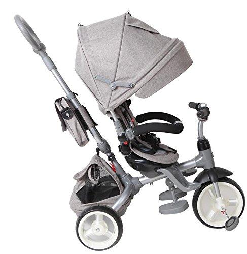 Tricycle Bébé Poussette Orientable Little Tiger avec Poignée de Poussée Canopée Ceintures et Sacs Gris Melange