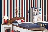 Weaeo Vlies Tapete Moderne Vereinfachte Mittelmeers Gestreifte Schlafzimmer Hintergrund Wand Dekorative Tapete Rot Und Blau