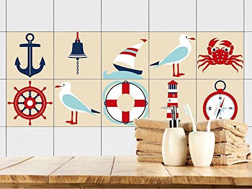 GRAZDesign 770383_15x15_FS10st Fliesenaufkleber Anker Maritim | Fliesenbilder für Bad | Braun - Weiß | Fliesen Zum Aufkleben Bad | Selbstklebende Fliesen-Folie (15x15cm//Set 10 Stück)