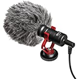 Boya Video Microphone Universal Compact on-Camera Mini Recording Mic Directional Condenser for iPhone Android Smartphone Mac Tablet DSLR Camcorder (Black)