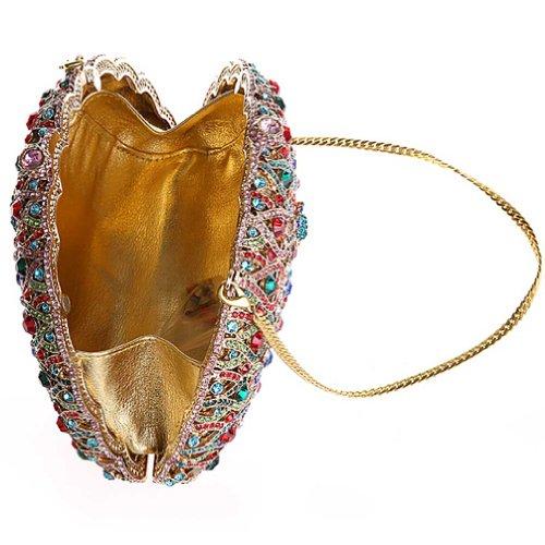 KAXIDY Unique Paon Luxueux Sac a Main Pochette Porte-monnaie Rigide Deco Strass Diamant Femme Fille Sac Soiré (Or) Rouge