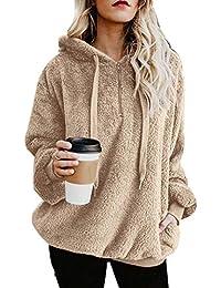 0cd22ba5c9 Women s Casual Loose Long Sleeve Winter Warm Fluffy Fleece Zip Oversize Top Hoodie  Sweatshirt Pullover with
