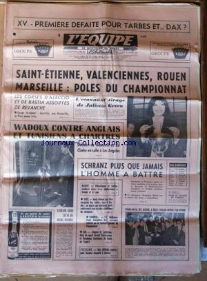 EQUIPE (L') [No 7080] du 18/01/1969 - XV / 1ERE DEFAITE POUR TARBES ET DAX - SAINT-ETIENNE - VALENCIENNES - ROUEN - MARSEILLE / POLES DU CHAMPIONNAT - LES CORSES D'AJACCIO ET DE BASTIA - L'ETONNANT TIRAGE DE JULIETTE GRECO - WADOUX CONTRE ANGLAIS ET TUNISIENS A CHARTRES - DEBUTS DE DOUBELL ET DE CLARKE A LOS ANGELES - SCHRANZ PLUS QUE JAMAIS L'hOMME A BATTRE - BASKET - BOXE - HAND - XIII - CYCLISME - BERNARD GUYOT ELEVE DE MACQUET - YEGBA-MAYA / DIT JOSEPH / A RECU L'oscar offert par byrrh - da par Collectif