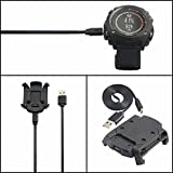 grustpro Daten Sync Cradle Dock Desktop USB Ladekabel Clip Ladegerät für Garmin Fenix 3 HR/Fenix 3/Quatix 3 Smart Watch Adapter mit Magic Tape Band