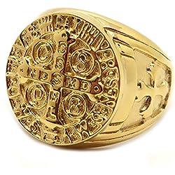 BOBIJOO Jewelry - Anillo Anillo Anillo De Oro De La Medalla De La Cruz De La Orden De San Benito Templarios Papa De Acero De Oro - 19 (9 US), Dorado - Acero Inoxidable 316