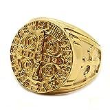 BOBIJOO Jewelry - Siegelring Ring Goldene Medaille Kreuz Order Heiligen Benedikt Templer Papst Stahl Gold - 22,6 (13 US), Vergoldet - Edelstahl 316