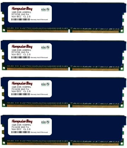 Komputerbay 4GB ( 4 x 1GB ) DDR DIMM (184 pin) 400Mhz PC 3200 Low Density Heat Spreaders CL2.0 4 GB KIT -