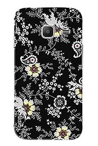 Omnam White Flower On Black Pattern Printed Designer Back Case Samsung Galaxy J1 Ace (J110)