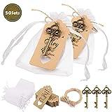 Minterest 50 Stück Gastgeschenke Hochzeit für Gäste, Vintage Bronze Schlüssel Flaschenöffner, Durchsichtige Tasche, Geschenkanhänger aus Braunem Kraftpapier, Bindfäden aus Natürlicher Jute