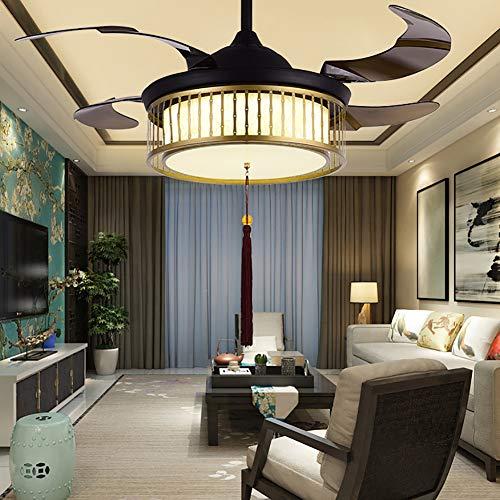 WWLONG Deckenventilator Chinesischer Deckenventilator Licht 42 Zoll / 107 cm Fernbedienung Lüfter Licht LED unsichtbare Lüfter Licht schrumpfen Lüfter, dimmbar + Fernbedienung-M -