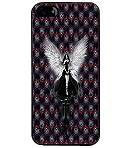 PrintDhaba Black Angel D-5645 Back Case Cover for APPLE IPHONE 4 (Multi-Coloured)
