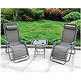 3 Piece Gravity Black Textoline Chair Table Set Garden Reclining Recliner Sun Lounger Furniture Neat Tidy Beautiful Contemporary Outdoor Living Garden
