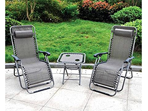 3 Piece Gravity Black Textoline Chair Table Set Garden Reclining Recliner Sun Lounger Furniture Neat Tidy Beautiful Contemporary Outdoor Living Garden Conservatory Patio Summer Sunny Innovative