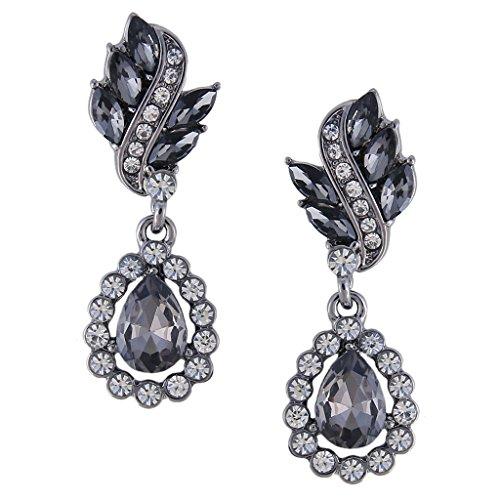 Black chandelier earrings amazon clearine womens wedding bridal crystal floral leaf vine teardrop hollow chandelier pierced dangle earrings black silver tone aloadofball Choice Image