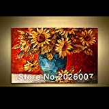 HANDBEMALT Landschaft abstrakt Palette Sonnenblumen Landschaft Wandbild Ölgemälde House Living Room Art, canvas, 32x64inch(80x160cm)