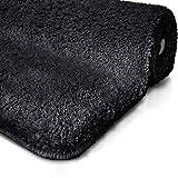 Tapis de bain noir | certifié Oeko-Tex 100 et lavable | poil très doux | plusieurs tailles au choix - 50x60cm