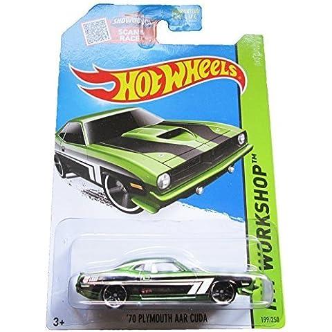 Hot Wheels, 2015 HW Workshop, '70 Plymouth AAR Cuda [Green] Die-Cast Vehicle #199/250 by Mattel - Plymouth Cuda