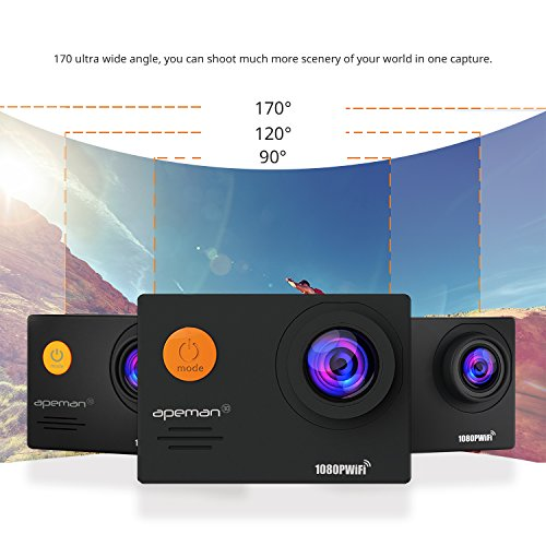 """APEMAN Action Camera Underwater Camera Wi-Fi 1080P 14MP Waterproof up to 30m 2.0"""" LCD 170°Ultra Wide-Angle Two 1050mAh Batteries with Portable Case and Kit of Accessories"""