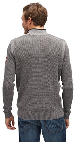 TOM TAILOR Herren Pullover Structured Sweater with Nylon stormy gray