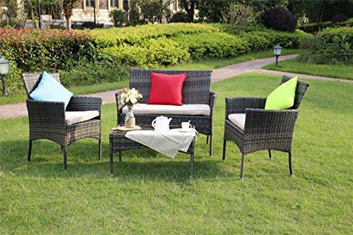 YAKOE Eton Range Outdoor Rattan Garden Furniture Sofa Set, Brown, 106x59x48 cm