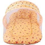 Baby Bedding Set Toddler Mattress With Mosquito Net & Baby Neck Pillow (Peach Orange) (Ideal For 0 Month To 12 Month) (Peach Orange)