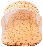 #2: Toddler Mattress with Mosquito Net for Baby - Ideal for New born upto 12 months baby (100% Soft Pure Cotton) (Print is same As Cartoon Shown)Peach orange