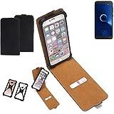 K-S-Trade Flipstyle Hülle für Alcatel 1C Single SIM Handyhülle Schutzhülle Tasche Handytasche Case Schutz Hülle + integrierter Bumper Kameraschutz, schwarz (1x)