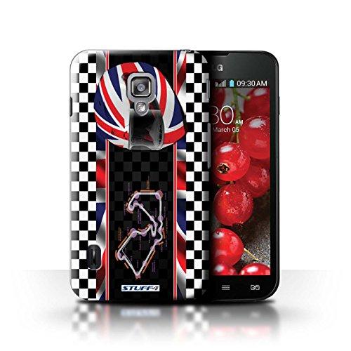 Kobalt® Imprimé Etui / Coque pour LG Optimus L7 II Dual / USA/Austin conception / Série F1 Piste Drapeau UK/Silverstone
