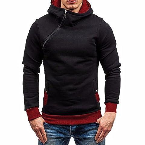 Men Hoodies, FriendG Men's Autumn Winter Long Sleeve Zipper Hooded Sweatshirt Tops Warm Pullover Outwear (XL,