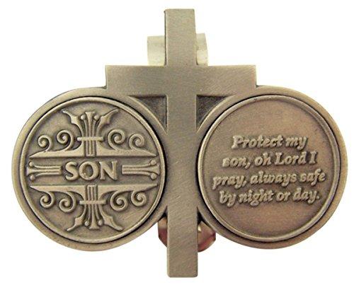 Zinn Kreuz mit Schutz Gebet Token Auto Visier Clip, 23/10,2cm, Unisex-Erwachsene, Silber, Son