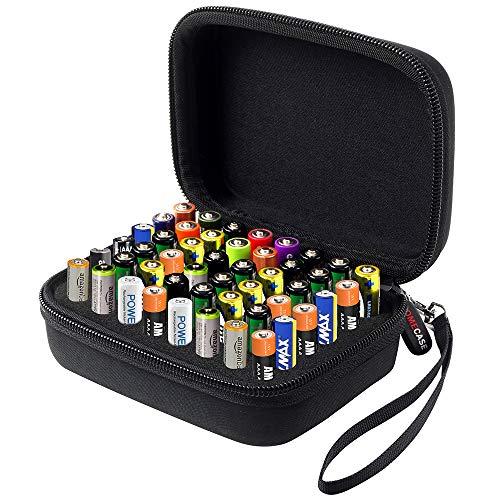 Batterie Aufbewahrungsbox Batteriebox - Hält 48 Batterien AAA mit Handschlaufe - Schwarz - 48 Batterien Aaa
