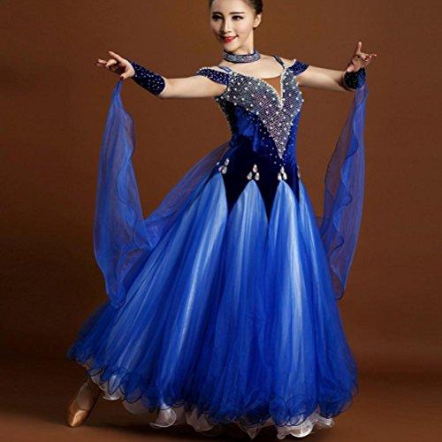 Hohe Qualität Luxus Ballroom Standard Tanz Kleider Leistung für Frauen Samt Tüll mit Perlen und Strasssteine Modernes Kleid , treasure blue , XXL (Shorts Outfit Dance)