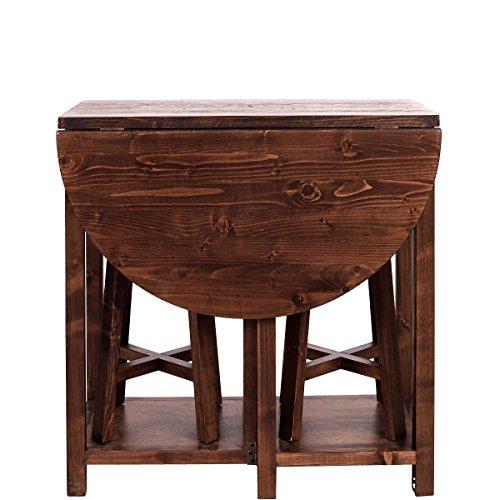 Butlers CHAIRLOCK Klapptisch mit 2 Hockern - Set - Kiefernholz, MDF, Sperrholz - 81 cm x 40-83 cm x 81 cm - Hocker: Ø 30 cm - Höhe 51 cm - Dekorieren Esszimmer Tisch