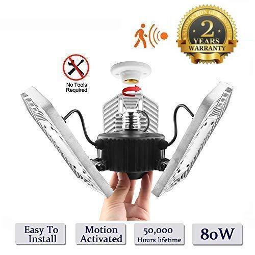 Verformbare Lampe, Innenleuchte, 6000 lm, hohe Intensität, Mining-Lampen, verformbare LED-Lichter, Garage Licht und LED Deckenleuchte, Radar Heimbeleuchtung Radar 80W -