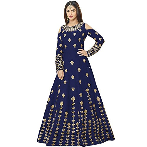 Siddeshwary Fab Women\'s Navy Blue Taffeta Silk Embroidered Gown for Women ( G_04 Blue Priya Gown )
