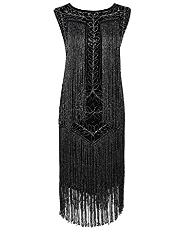 Kayamiya Damen Great Gatsby Kleid 1920er Paillette Quaste Charleston Kleider L Schwarz
