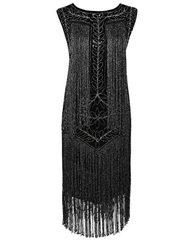 Kayamiya Damen Great Gatsby Kleid 1920er Paillette Quaste Charleston Kleider S Schwarz Silber