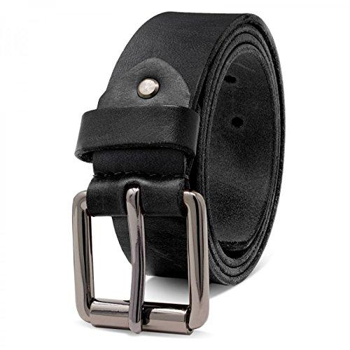 ROYALZ Ledergürtel Herren aus robusten 4mm Büffel-Leder, Vintage Jeans-Herren-Gürtel mit Dornenschließe Voll-Leder 38mm, Farbe:Schwarz, Größe:100 (Herren-jeans Leder)